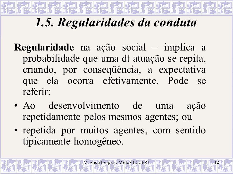 1.5. Regularidades da conduta