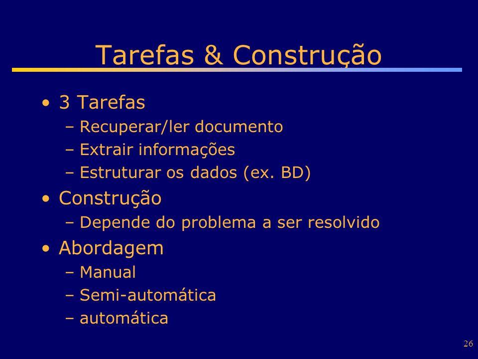 Tarefas & Construção 3 Tarefas Construção Abordagem