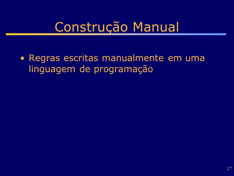 Construção Manual Regras escritas manualmente em uma linguagem de programação