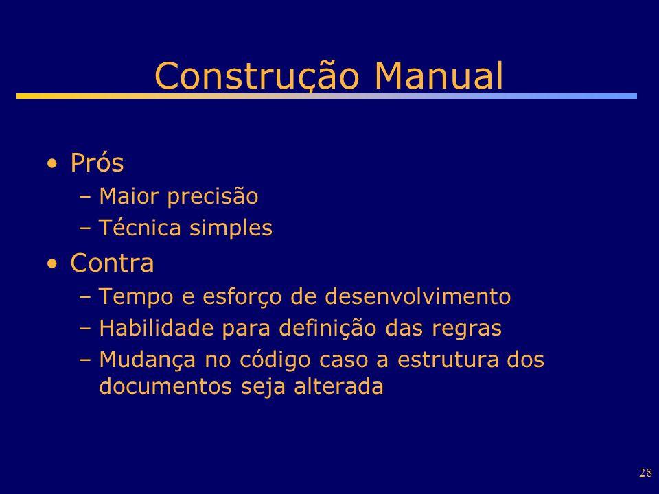 Construção Manual Prós Contra Maior precisão Técnica simples