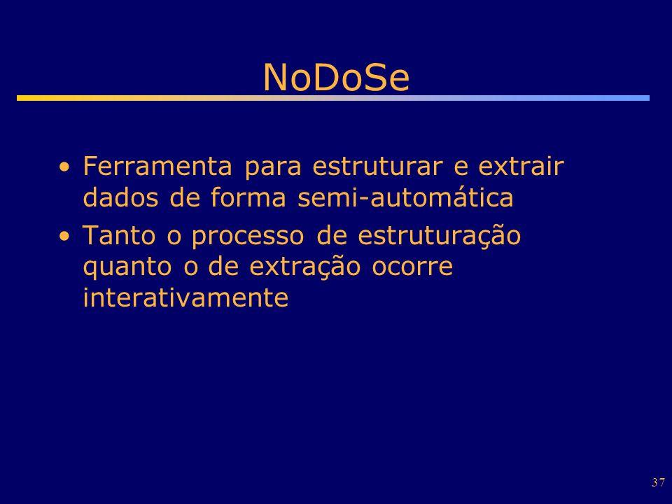 NoDoSe Ferramenta para estruturar e extrair dados de forma semi-automática.
