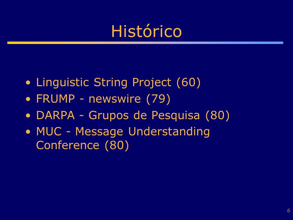 Histórico Linguistic String Project (60) FRUMP - newswire (79)