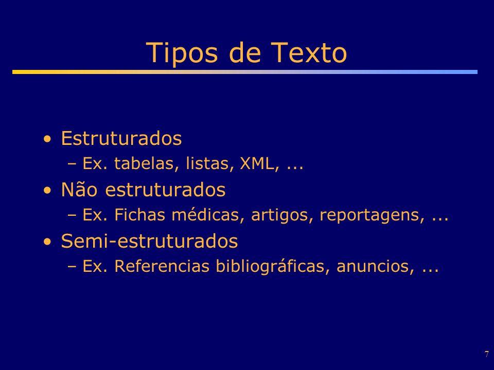 Tipos de Texto Estruturados Não estruturados Semi-estruturados