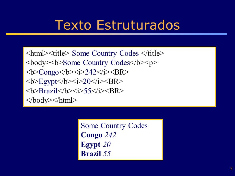 Texto Estruturados <html><title> Some Country Codes </title> <body><b>Some Country Codes</b><p> <b>Congo</b><i>242</i><BR>