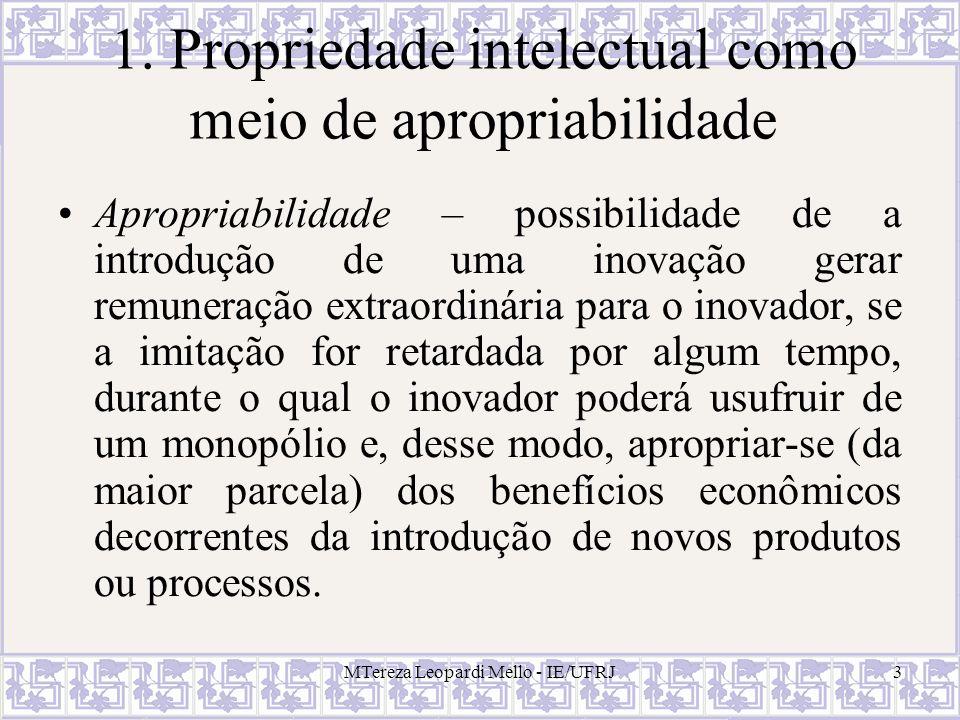 1. Propriedade intelectual como meio de apropriabilidade