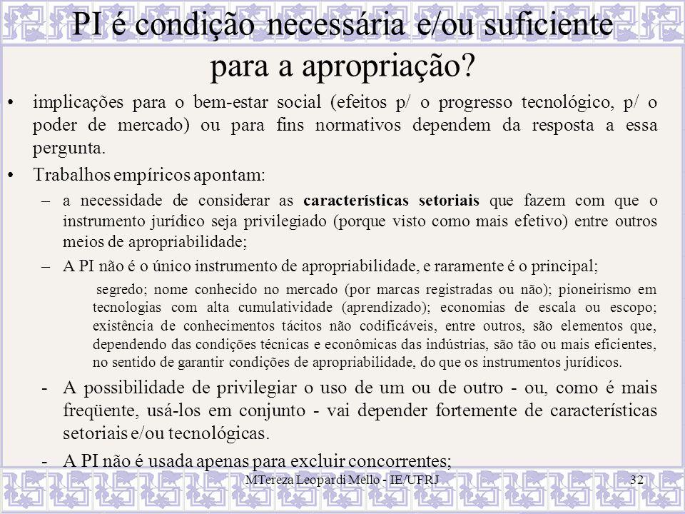 PI é condição necessária e/ou suficiente para a apropriação