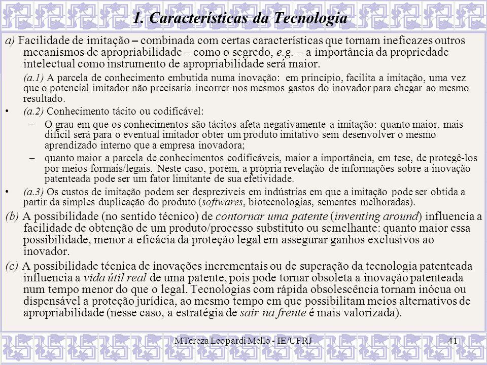 1. Características da Tecnologia