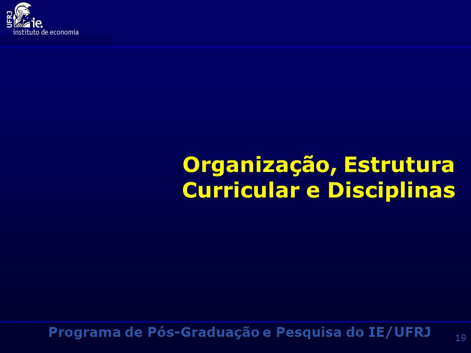 Organização, Estrutura Curricular e Disciplinas