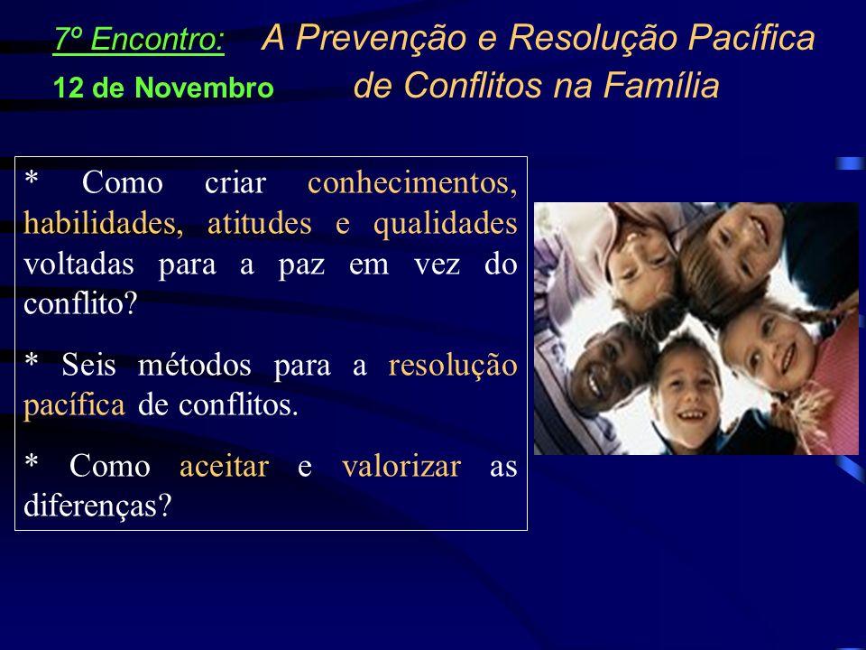 * Seis métodos para a resolução pacífica de conflitos.