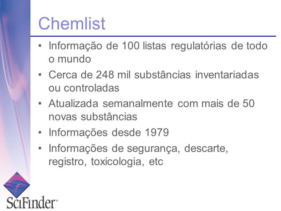 Chemlist Informação de 100 listas regulatórias de todo o mundo