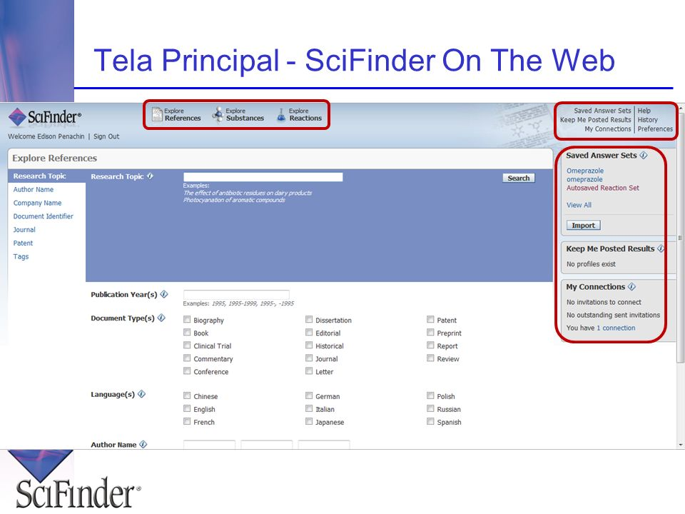 Tela Principal - SciFinder On The Web
