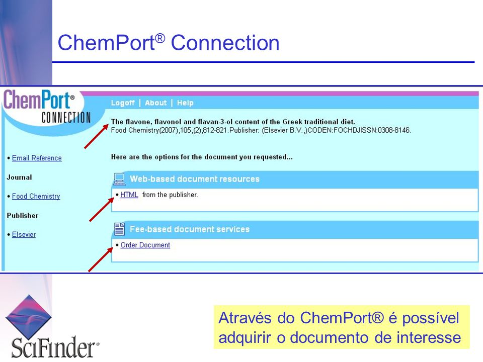 ChemPort® Connection Através do ChemPort® é possível adquirir o documento de interesse