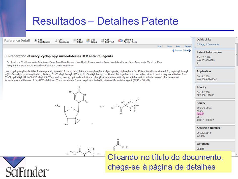 Resultados – Detalhes Patente