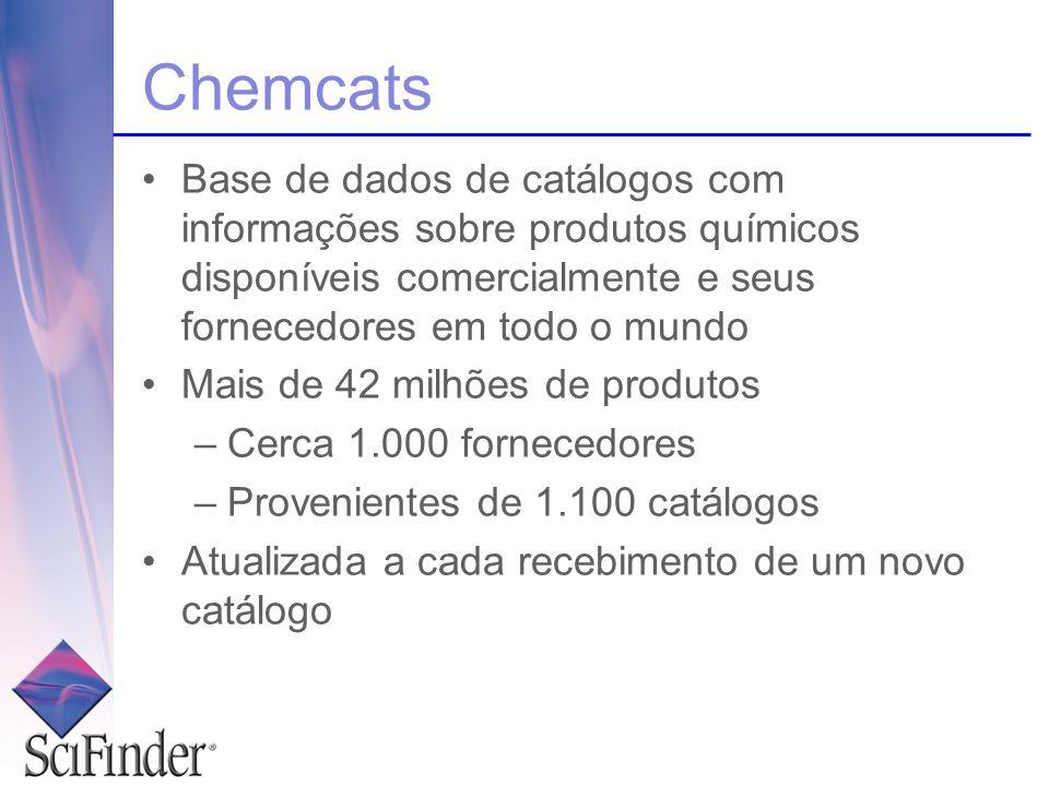 Chemcats Base de dados de catálogos com informações sobre produtos químicos disponíveis comercialmente e seus fornecedores em todo o mundo.