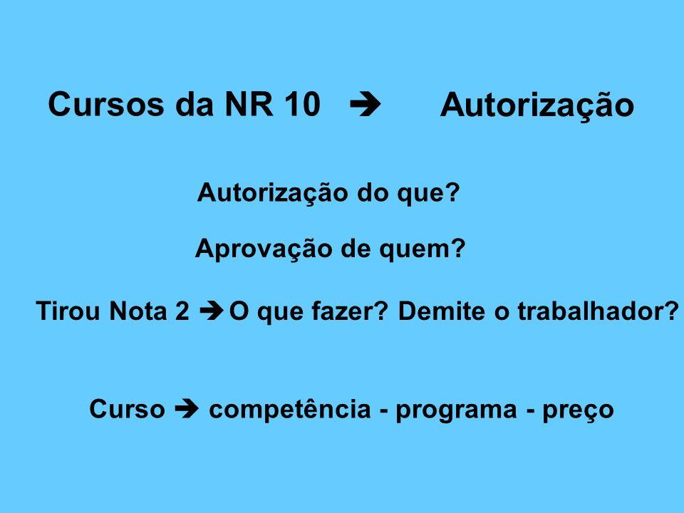 Cursos da NR 10  Autorização Autorização do que Aprovação de quem