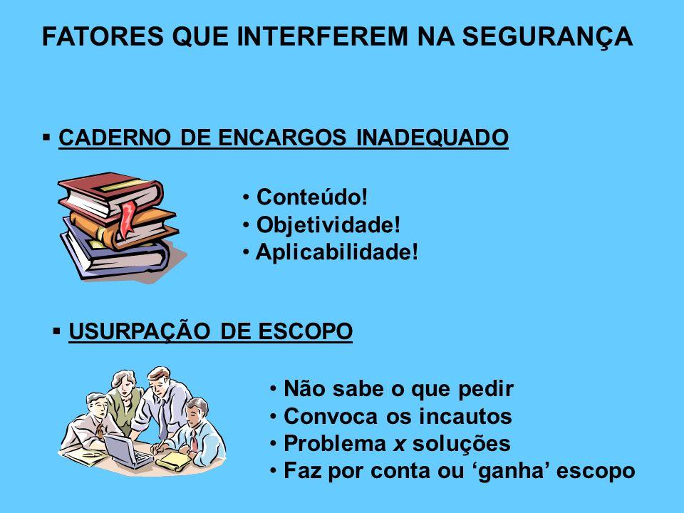 FATORES QUE INTERFEREM NA SEGURANÇA