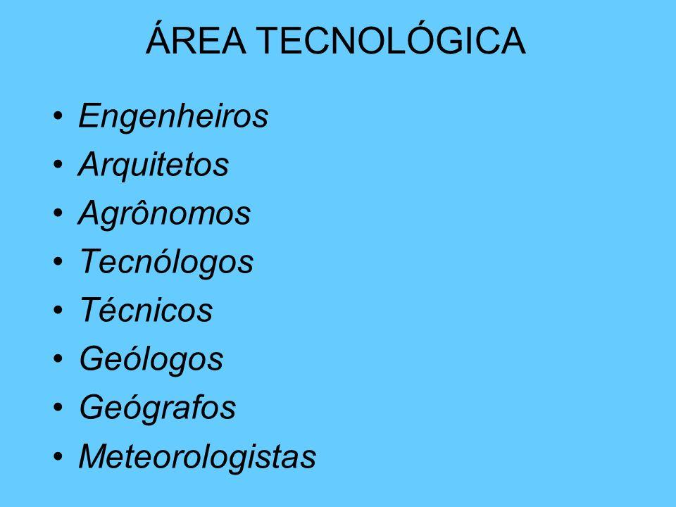 ÁREA TECNOLÓGICA Engenheiros Arquitetos Agrônomos Tecnólogos Técnicos