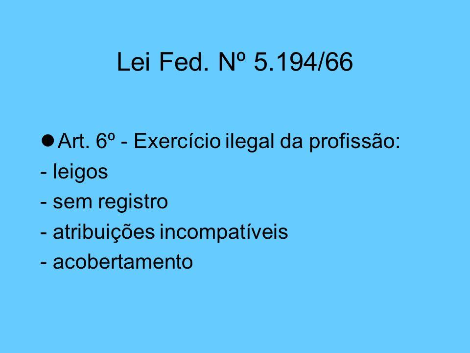 Lei Fed. Nº 5.194/66 Art. 6º - Exercício ilegal da profissão: - leigos