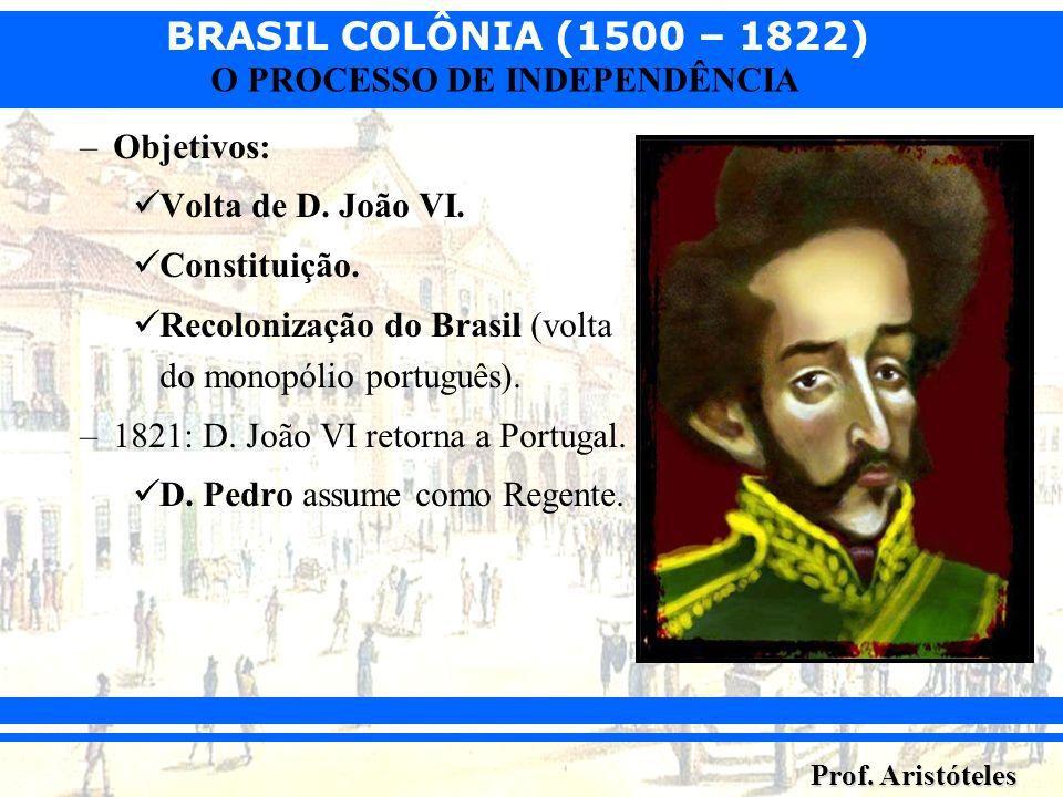 Objetivos: Volta de D. João VI. Constituição. Recolonização do Brasil (volta do monopólio português).