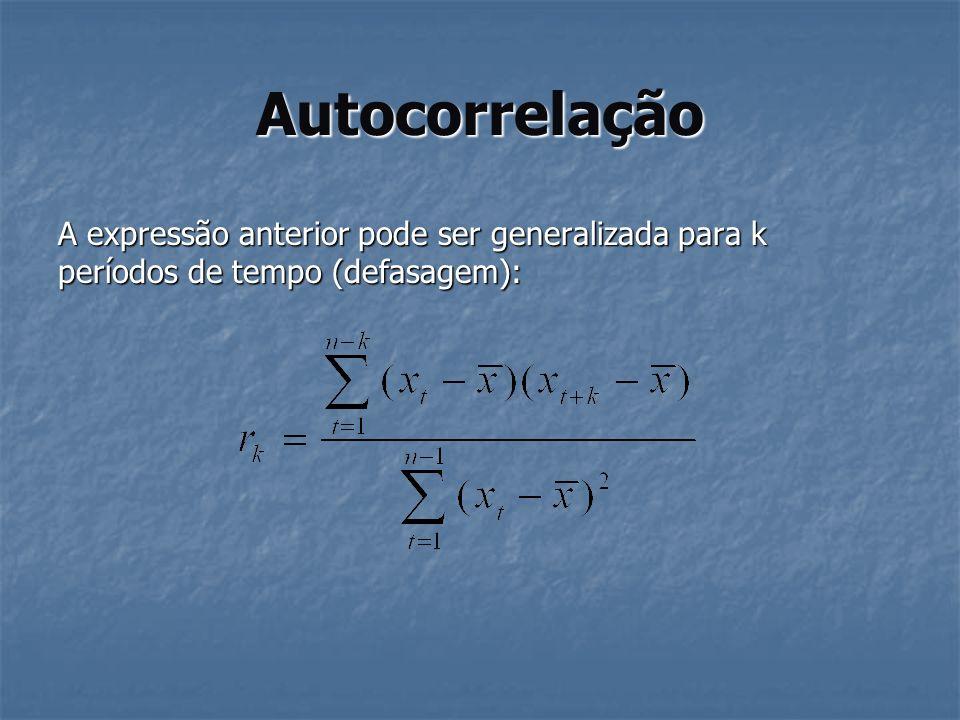 Autocorrelação A expressão anterior pode ser generalizada para k períodos de tempo (defasagem):