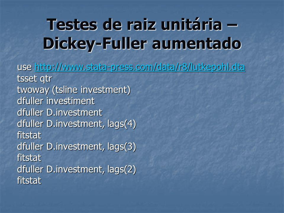 Testes de raiz unitária – Dickey-Fuller aumentado