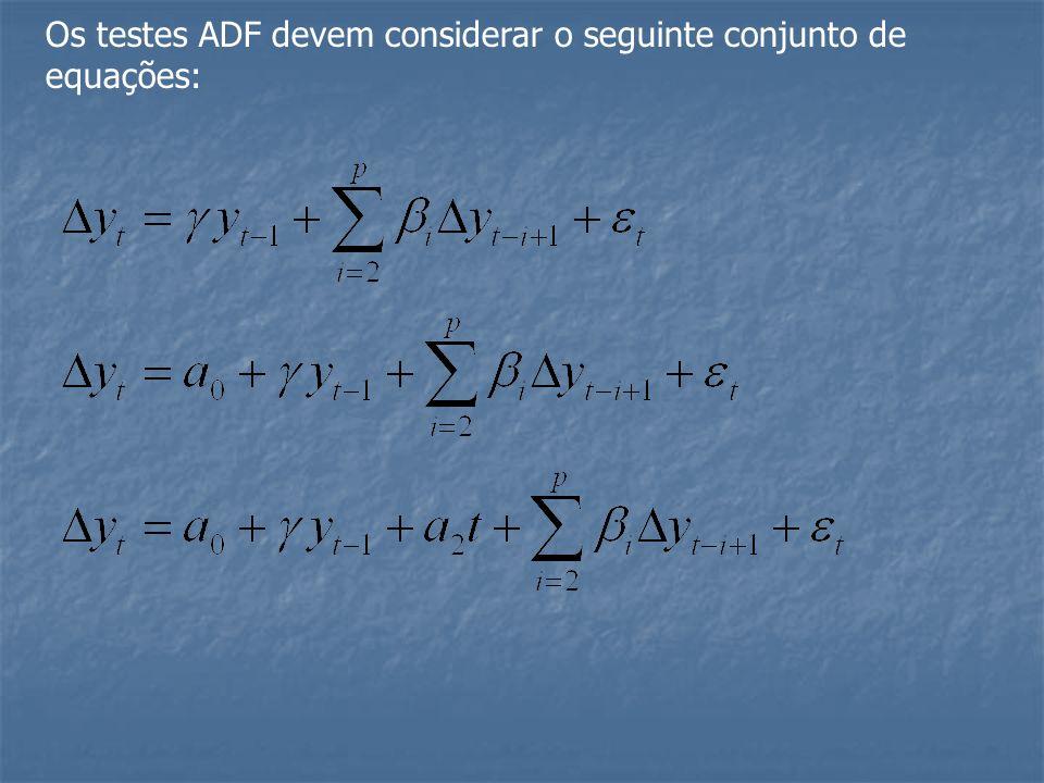 Os testes ADF devem considerar o seguinte conjunto de