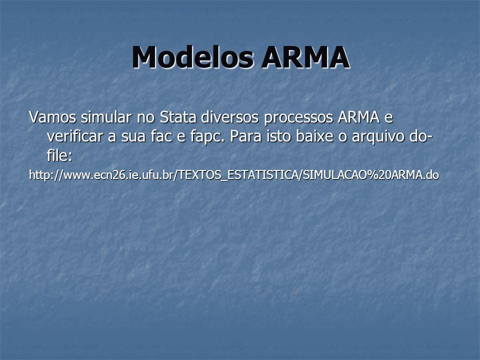 Modelos ARMAVamos simular no Stata diversos processos ARMA e verificar a sua fac e fapc. Para isto baixe o arquivo do-file: