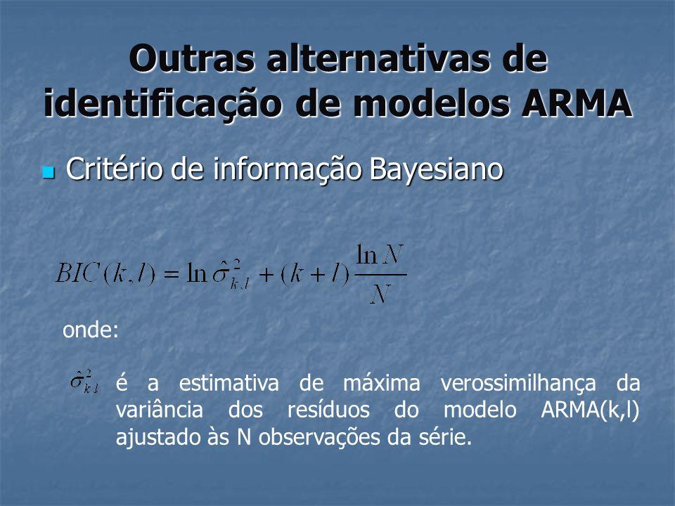 Outras alternativas de identificação de modelos ARMA