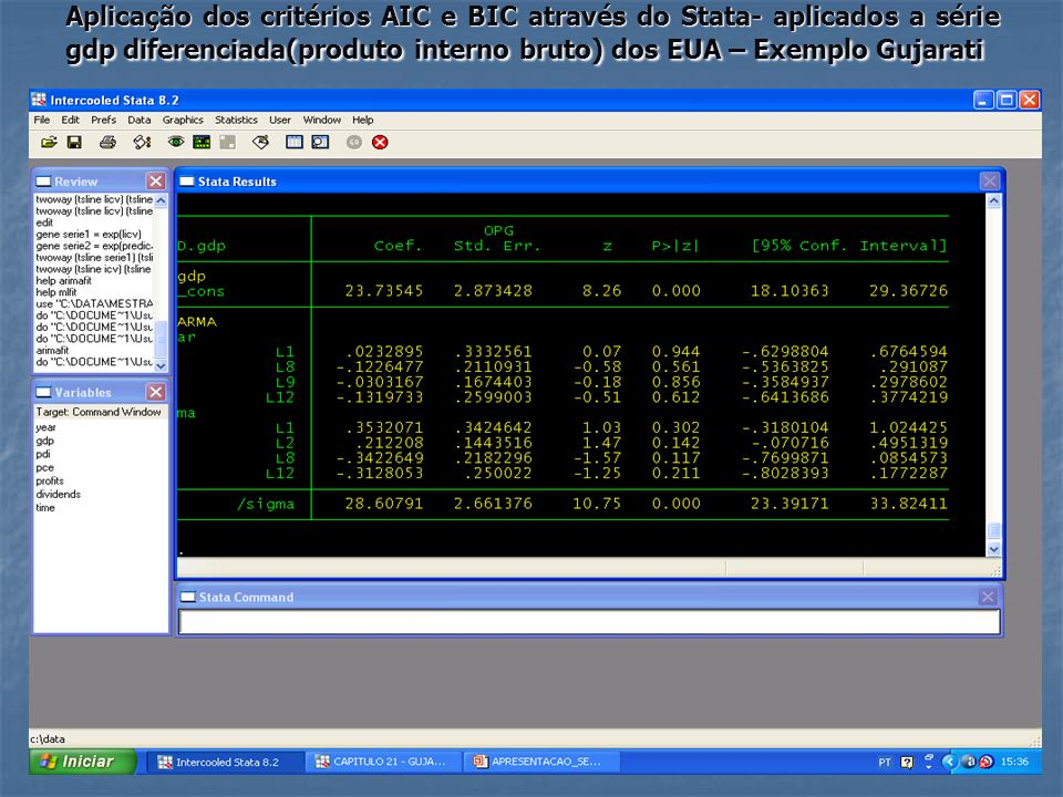 Aplicação dos critérios AIC e BIC através do Stata- aplicados a série gdp diferenciada(produto interno bruto) dos EUA – Exemplo Gujarati