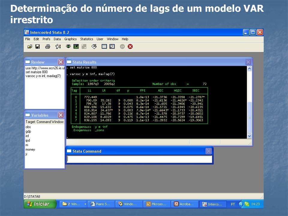 Determinação do número de lags de um modelo VAR irrestrito