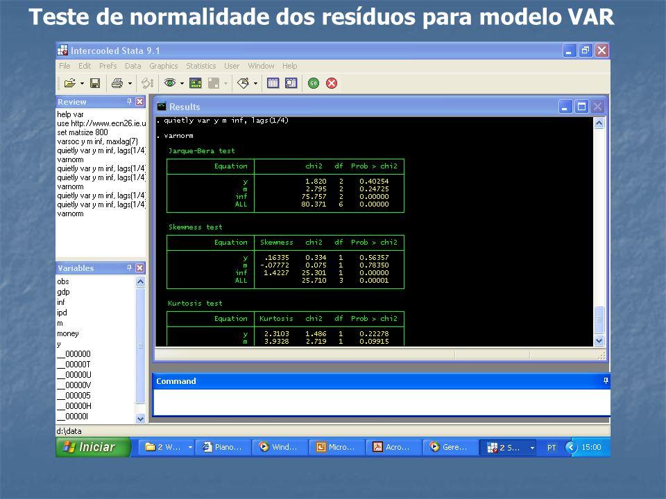 Teste de normalidade dos resíduos para modelo VAR