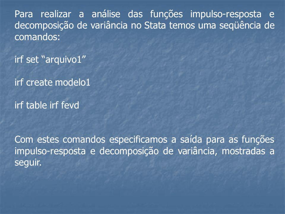 Para realizar a análise das funções impulso-resposta e decomposição de variância no Stata temos uma seqüência de comandos: