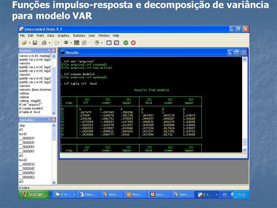 Funções impulso-resposta e decomposição de variância para modelo VAR