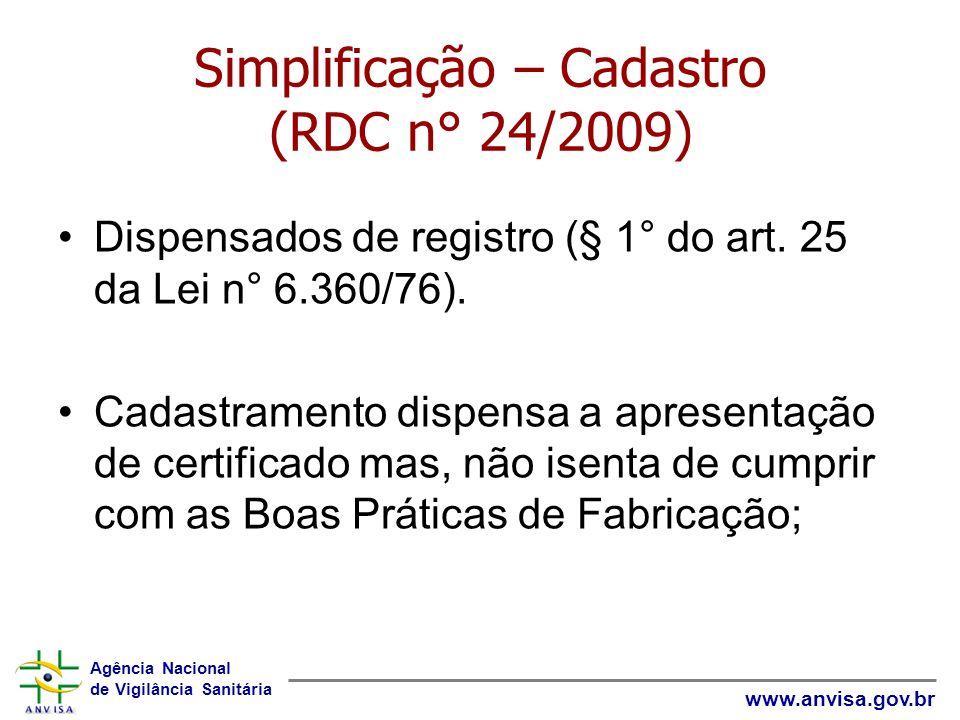 Simplificação – Cadastro (RDC n° 24/2009)