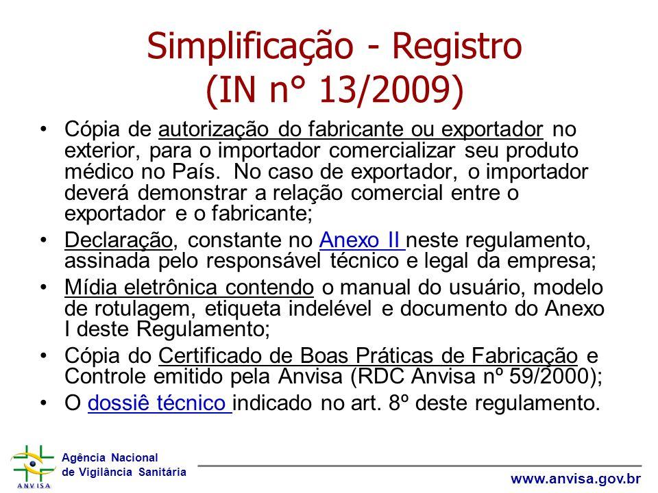 Simplificação - Registro (IN n° 13/2009)