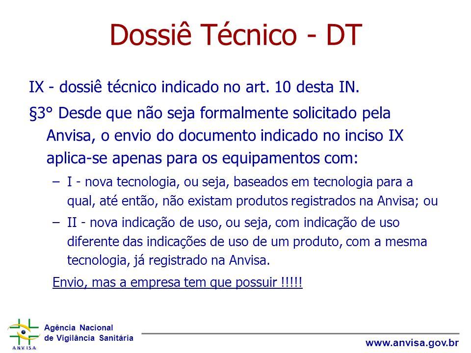 Dossiê Técnico - DT IX - dossiê técnico indicado no art. 10 desta IN.