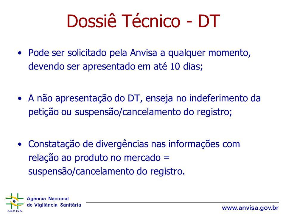 Dossiê Técnico - DTPode ser solicitado pela Anvisa a qualquer momento, devendo ser apresentado em até 10 dias;