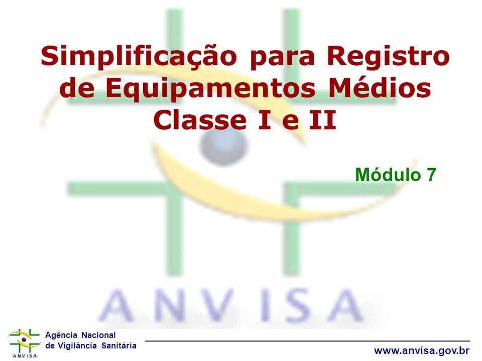 Simplificação para Registro de Equipamentos Médios Classe I e II