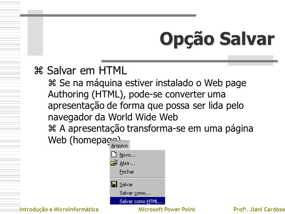 Opção Salvar Salvar em HTML
