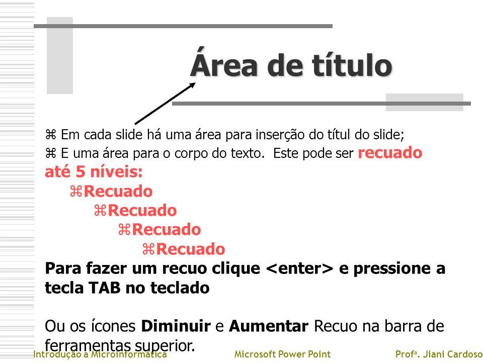 Área de títuloEm cada slide há uma área para inserção do títul do slide; E uma área para o corpo do texto. Este pode ser recuado até 5 níveis: