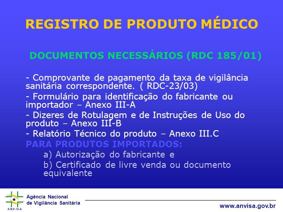 REGISTRO DE PRODUTO MÉDICO