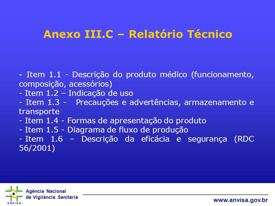 Anexo III.C – Relatório Técnico