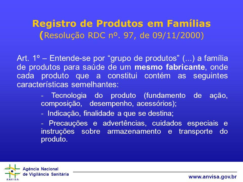 Registro de Produtos em Famílias (Resolução RDC nº. 97, de 09/11/2000)