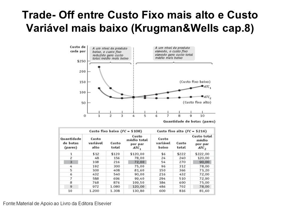 Trade- Off entre Custo Fixo mais alto e Custo Variável mais baixo (Krugman&Wells cap.8)