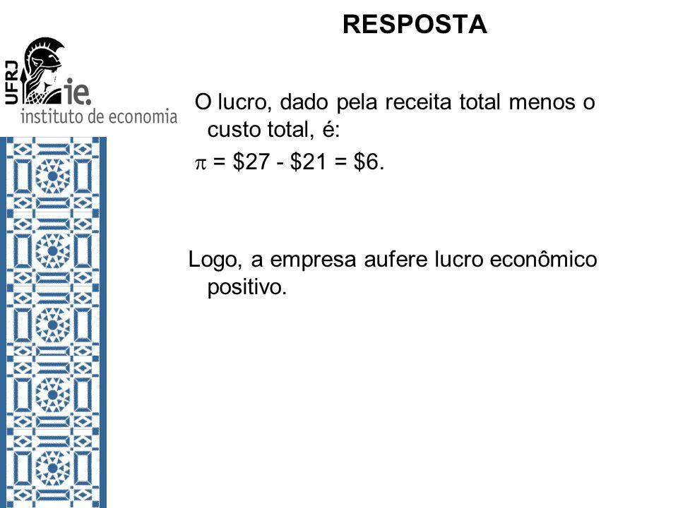 RESPOSTA O lucro, dado pela receita total menos o custo total, é: