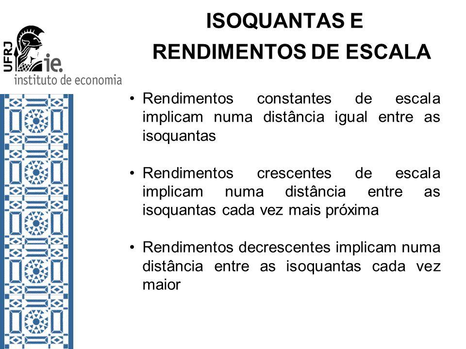 ISOQUANTAS E RENDIMENTOS DE ESCALA