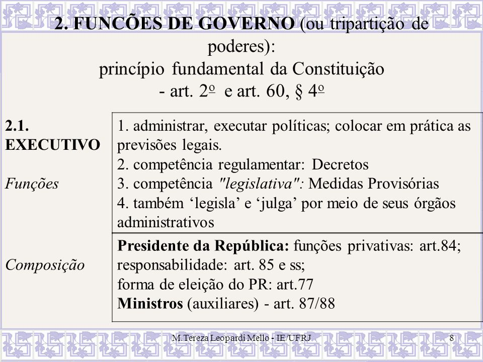 2. FUNCÕES DE GOVERNO (ou tripartição de poderes):