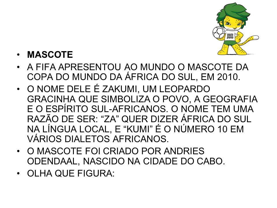 MASCOTEA FIFA APRESENTOU AO MUNDO O MASCOTE DA COPA DO MUNDO DA ÁFRICA DO SUL, EM 2010.