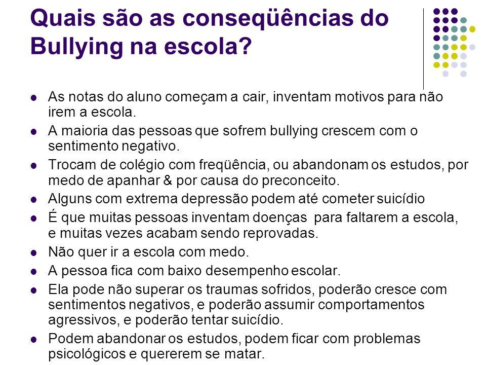 Quais são as conseqüências do Bullying na escola