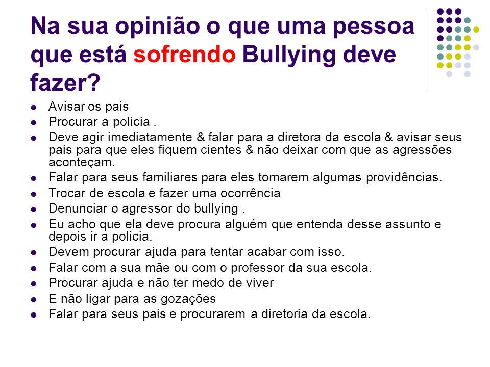 Na sua opinião o que uma pessoa que está sofrendo Bullying deve fazer
